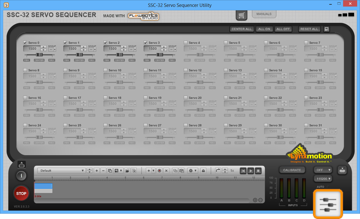 Screenshot of SSC-32 Servo Sequencer Utility